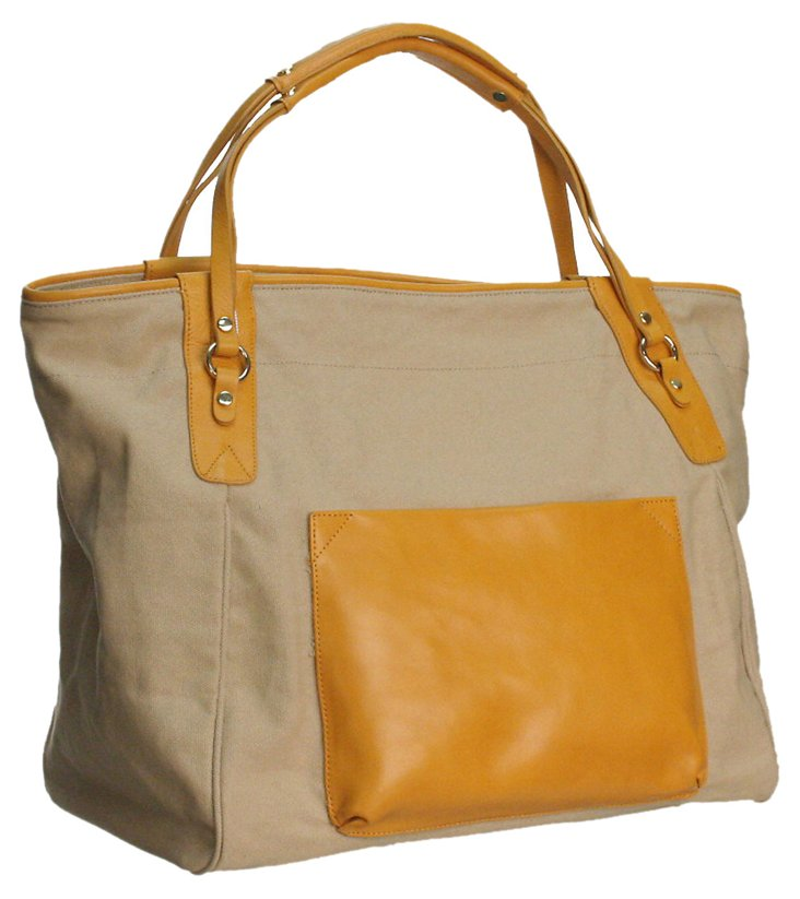 Leather Trim Sunday Tote, Marigold