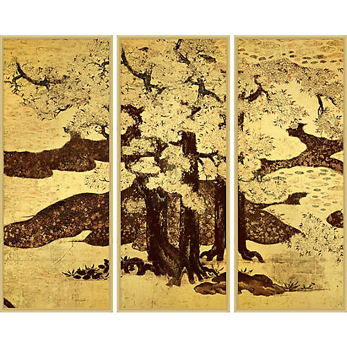Lillian August, Cherry Trees Triptych 2