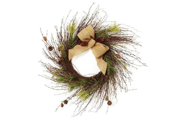 Highland's Birch & Pinecones Wreath