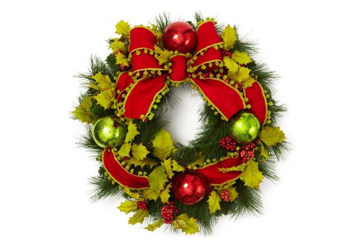"""24"""" Holiday Pom Pom Wreath"""
