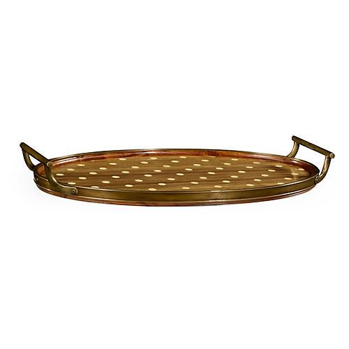 "25"" Natural Polka Dots Oval Tray, Walnut"