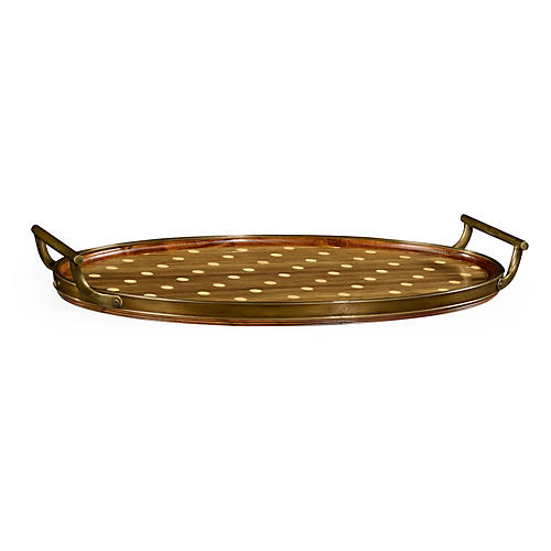 "25"" Natural Polka Dots Oval Tray, Walnut"