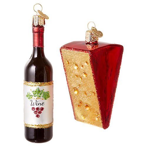 S/2 Red Wine & Cheese Wedge Ornaments, Multi