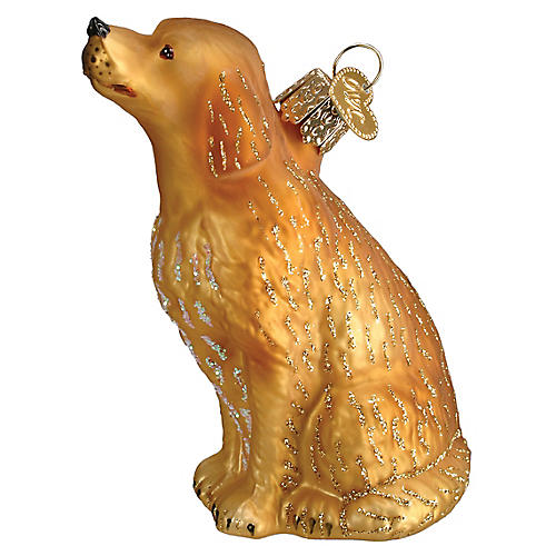 Sitting Retriever Ornament, Gold