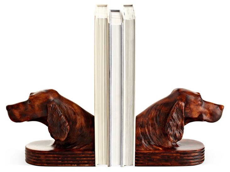 Pair of Setter-Head Bookends, Brown