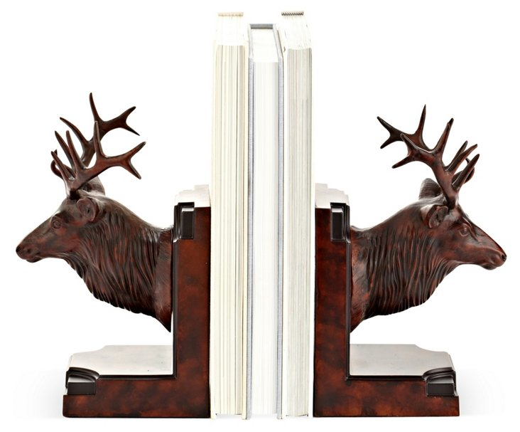 Pair of Elk Head Bookends, Brown
