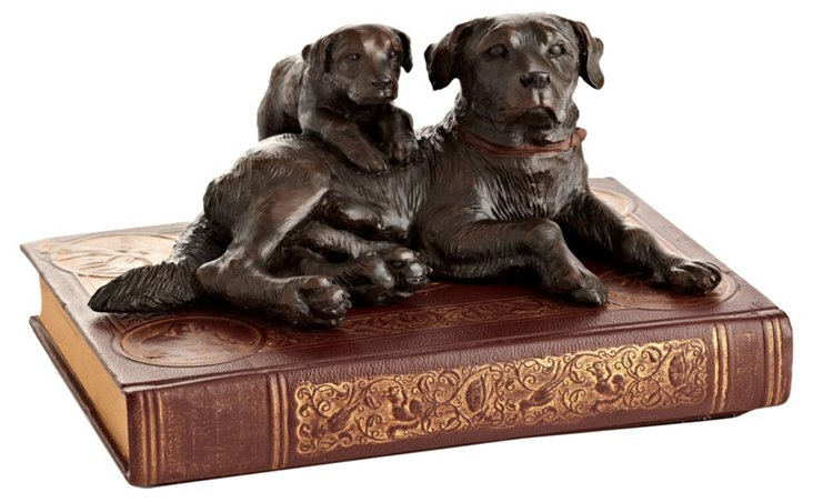 Labrador & Puppy Figurine on Book, Brown