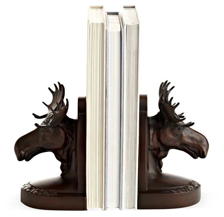 Pair of Moose Head Bookends