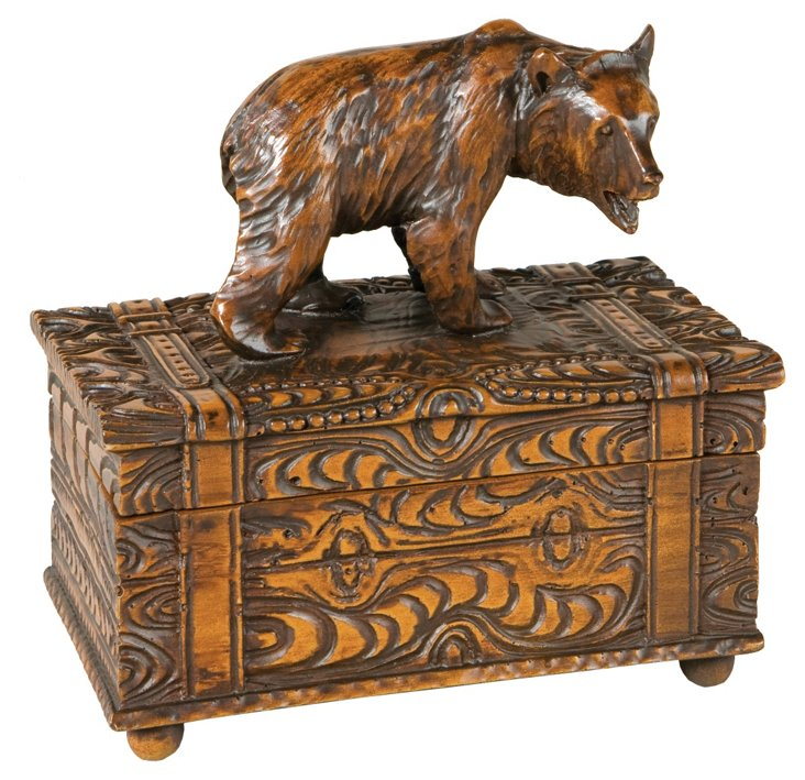 Carved Bear Box