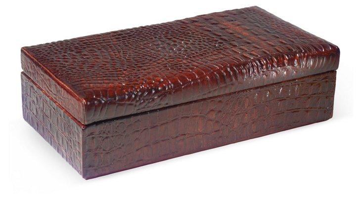 Hand-Cast Alligator Box, Brown