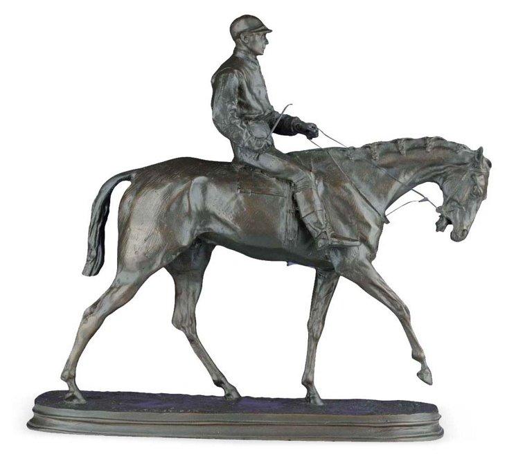 """18"""" Honored Jockey Figurine, Brown"""