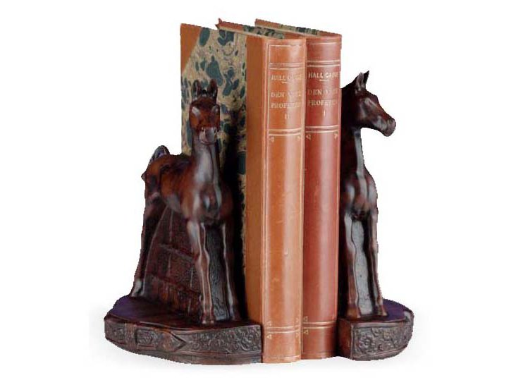 Pair of Colt Yearling Bookends, Brown