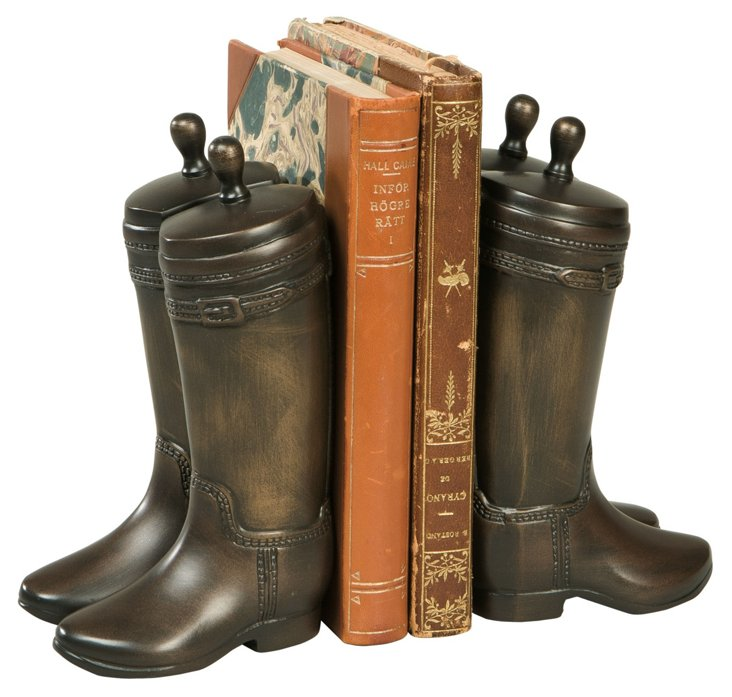 Pair of Riding Boots Bookends, Bronze