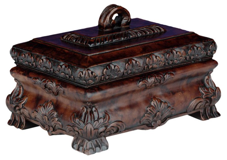 Leaves Carved Tea Caddy Box