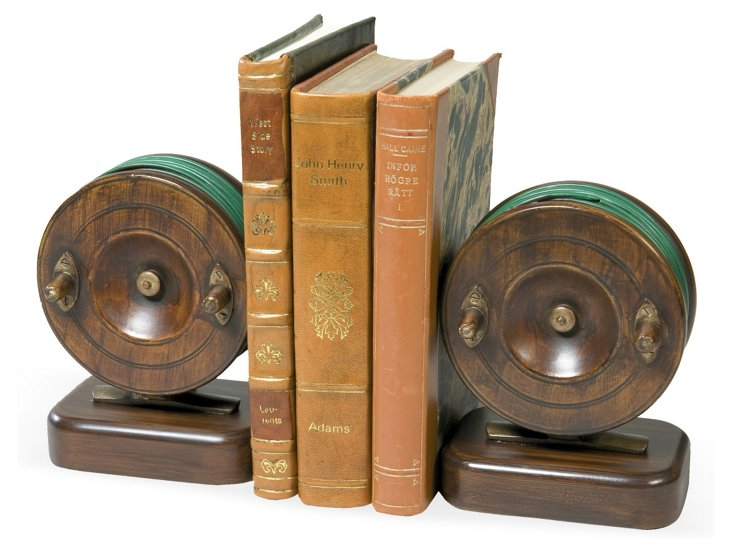 Pair of Classic Reel Bookends, Brown