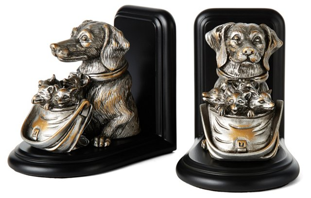 Pair of Dog & Fox Bookends, Silver