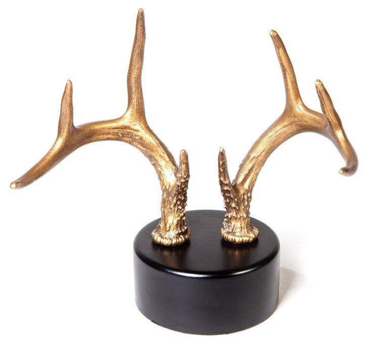 "10"" Antlers on Stand, Gold"