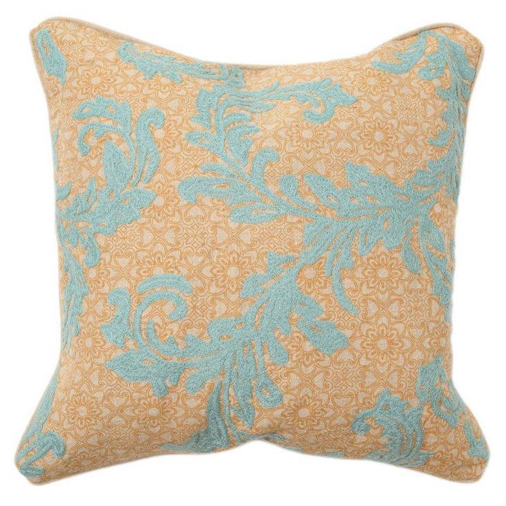 Vine 18x18 Cotton Pillow, Blue