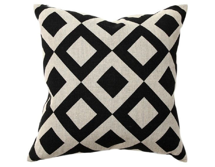 Chobe 18x18 Pillow, Black/White