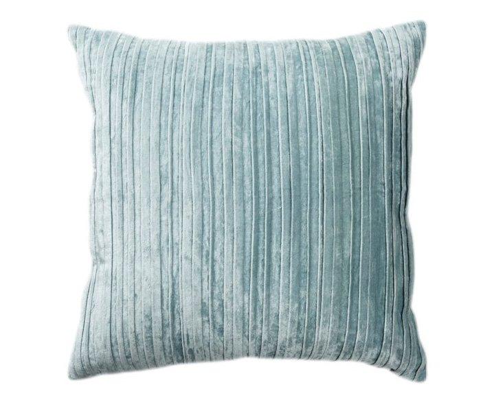 Venetian 22x22 Velvet Pillow, Blue