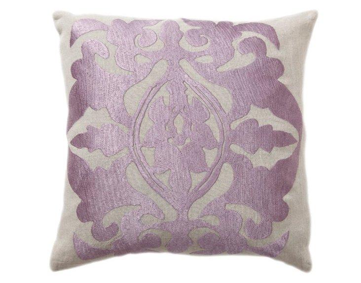 Crest 18x18 Linen Pillow, Lilac