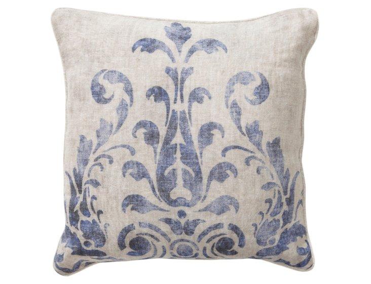 Fern 18x18 Cotton Pillow, Cerulean