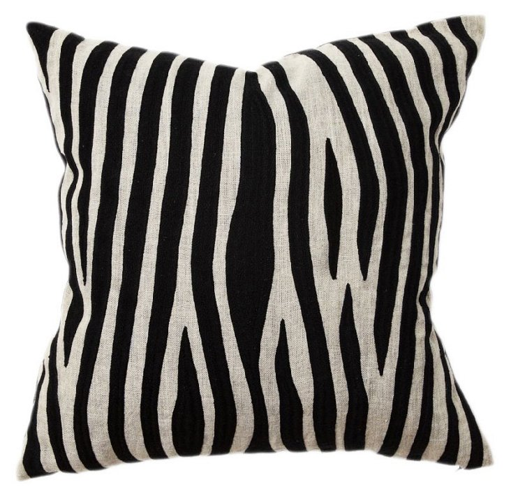 Kenya 18x18 Linen Pillow, Black