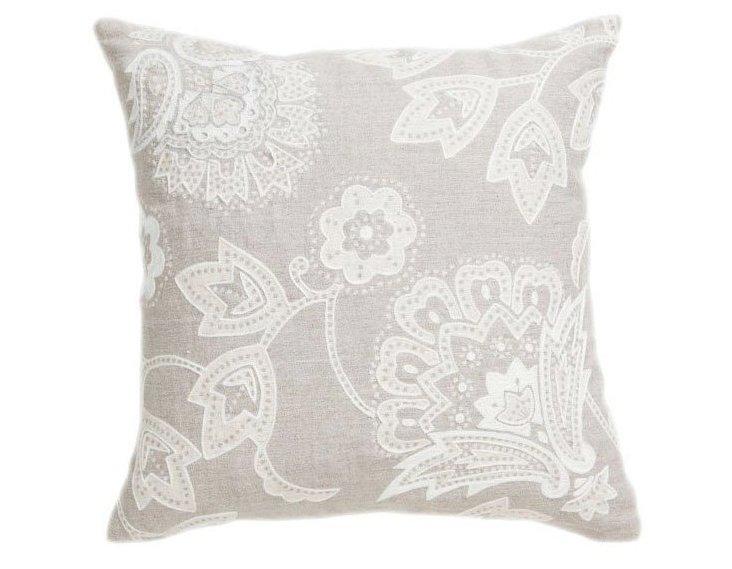 Milano 18x18 Linen Pillow, Silver