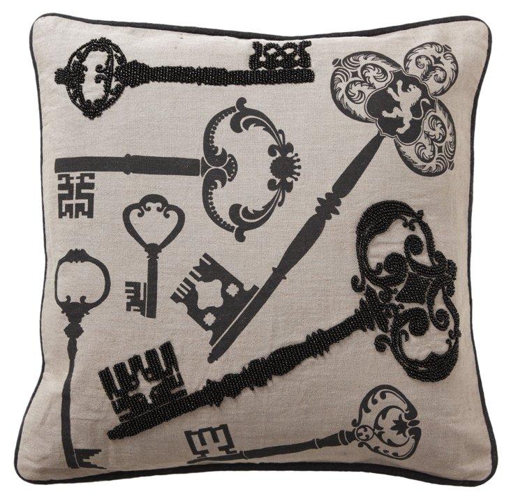 Password 18x18 Pillow, Ivory/Black