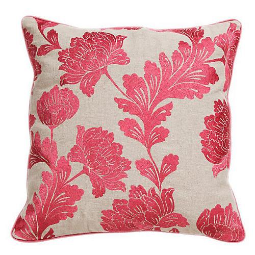 Bouquet 22x22 Cotton Pillow, Rose