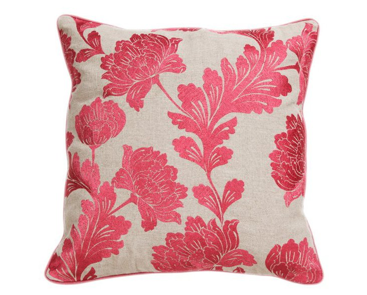Bouquet 22x22 Cotton Pillow, Rose