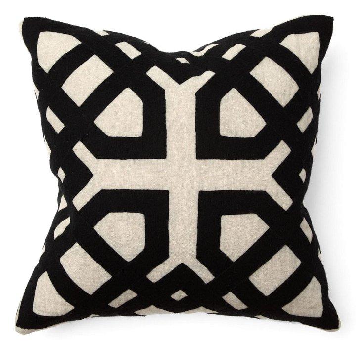 Khwai 18x18 Cotton Pillow, Black