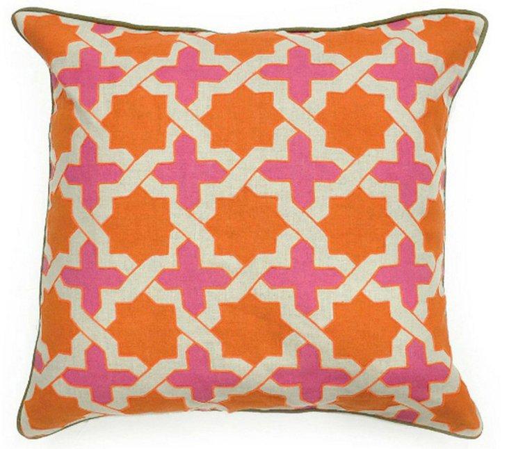 Anika 22x22 Cotton Pillows, Orange