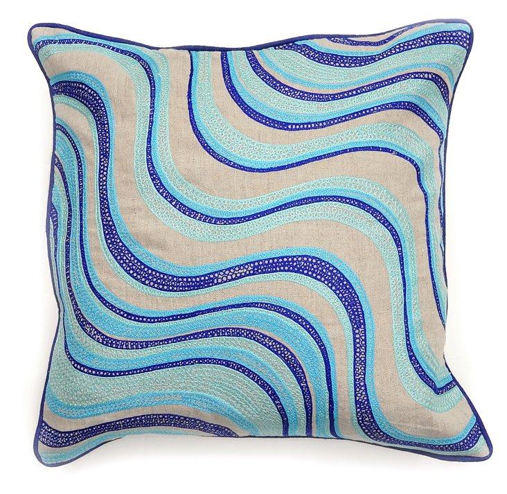 Joliet 18x18 Cotton Pillow, Blue