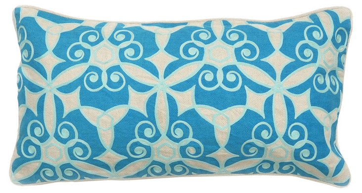 Ferah 14x26 Cotton Pillow, Aqua