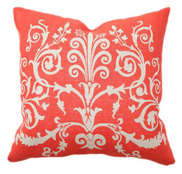 Scroll 22x22 Cotton Pillow, Red