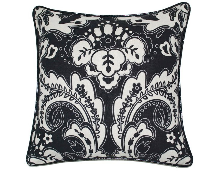 Divine 18x18 Cotton Pillow, Black