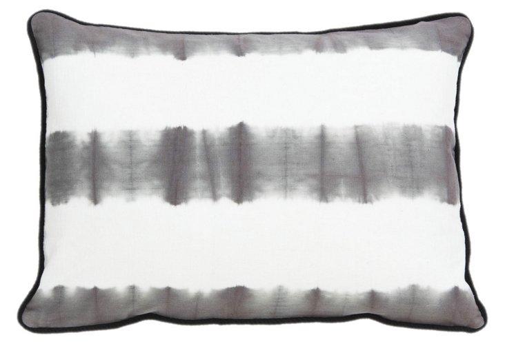 Soho 14x20 Cotton Pillow, Gray/White