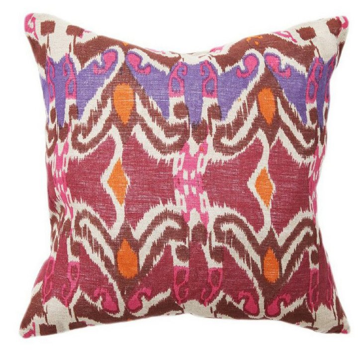 Boho Ikat 18x18 Cotton Pillow, Purple