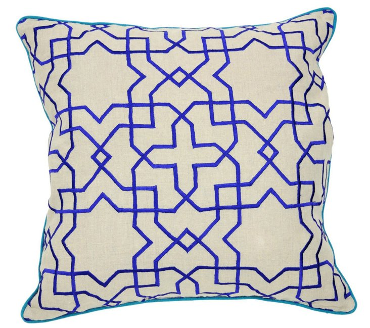 Tuile 22x22 Cotton Pillow, Blue