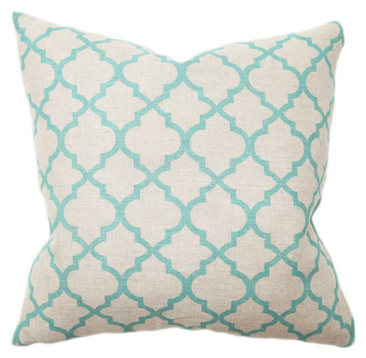 Tile 22x22 Cotton Pillow, Turquoise