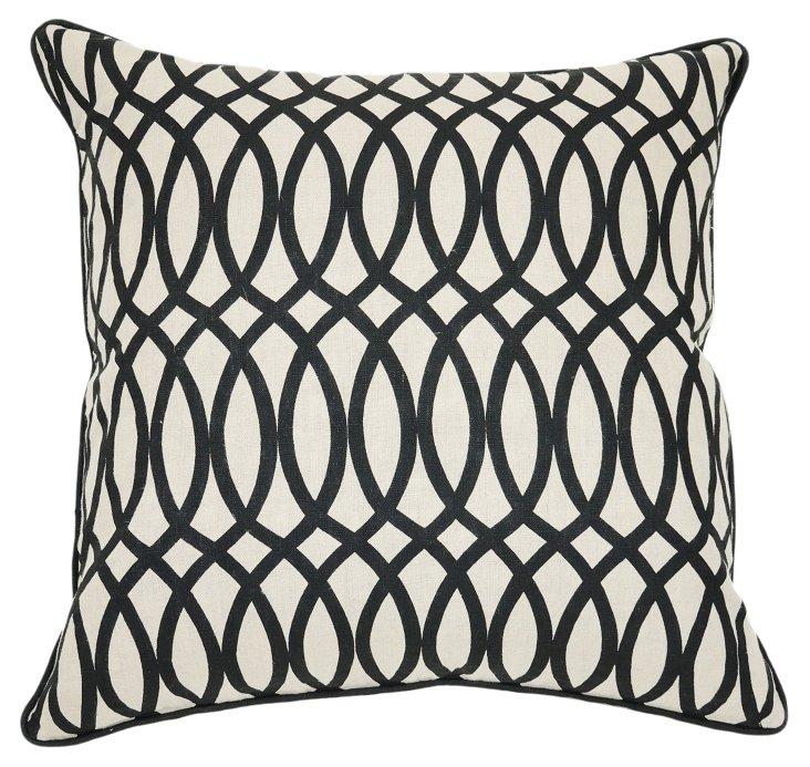Geo 22x22 Cotton Pillow, Black