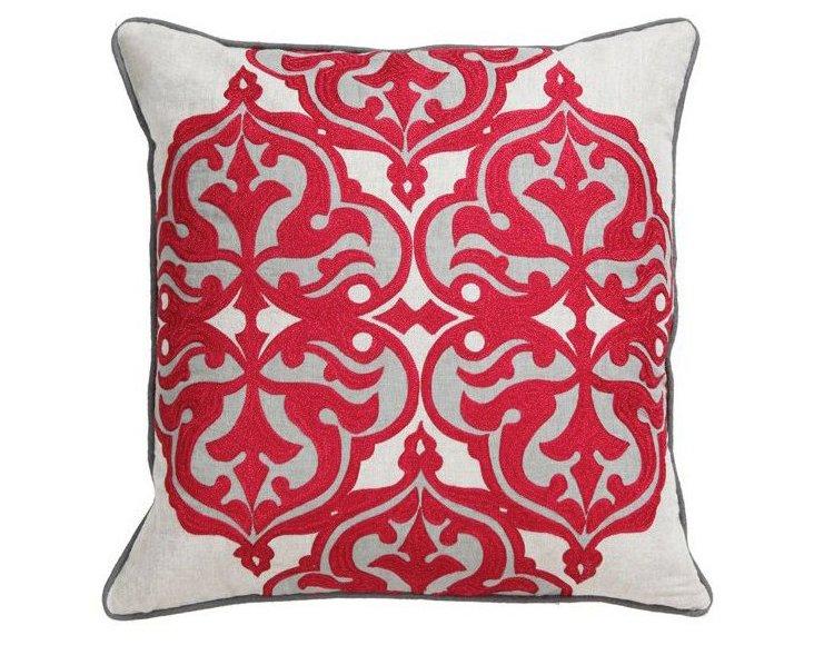 Jolie 18x18 Cotton-Blend Pillow, Cherry