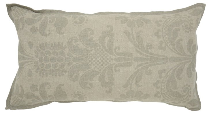 Pierre 14x26 Linen Pillow, Gray