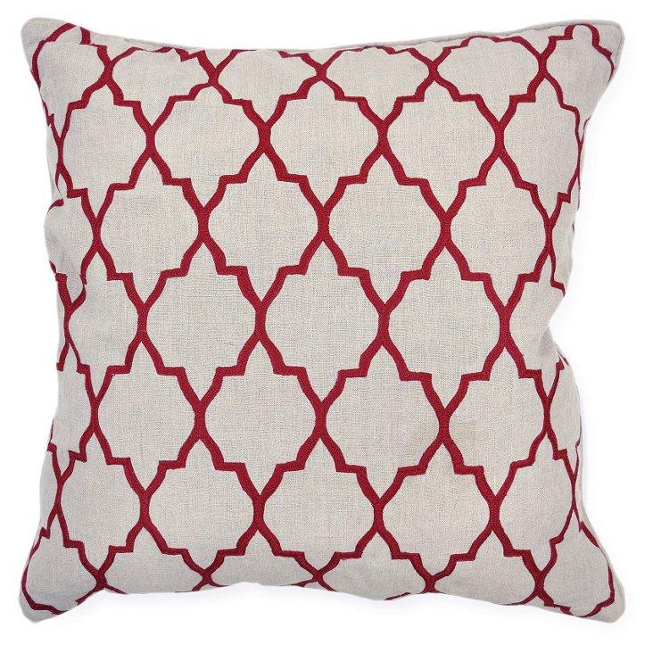 Kato 22x22 Linen Pillow, Burgundy