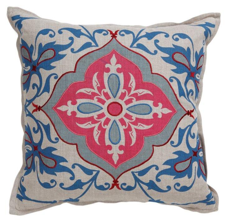Delora 18x18 Linen Pillow, Gray