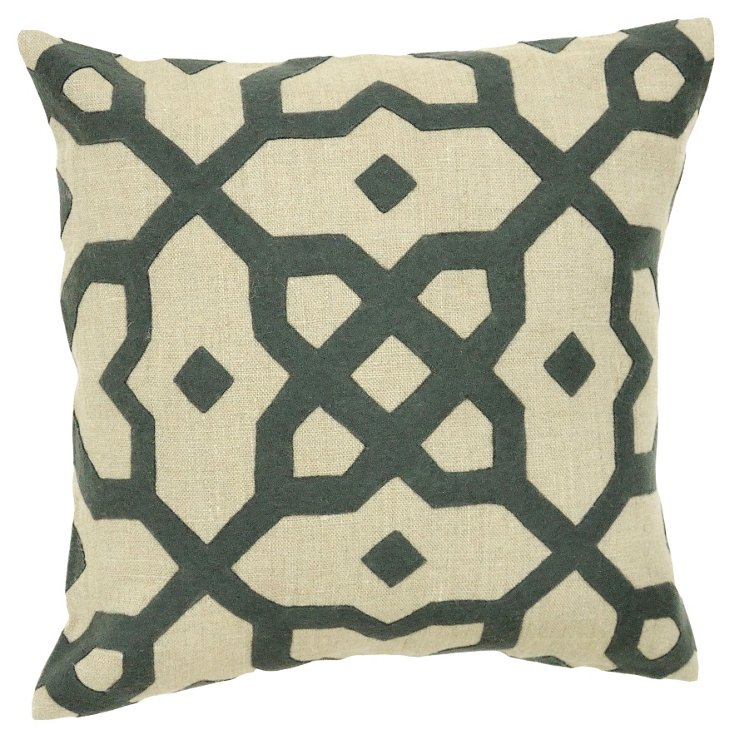 Ornate 22x22 Pillow, Green