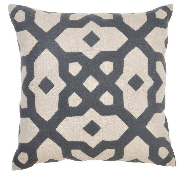 Ornate 22x22 Cotton Pillow, Gray