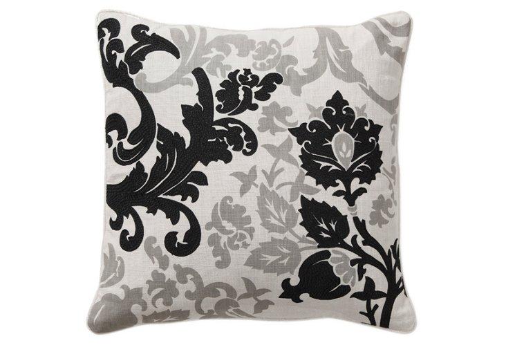 Garden 18x18 Pillow, Black/Gray