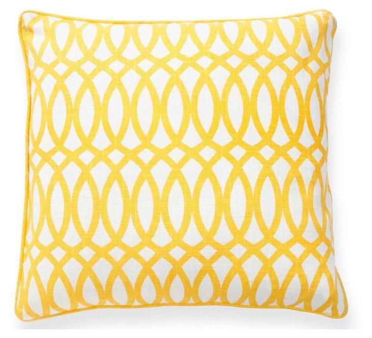 Geo 22x22 Pillow, Yellow/White